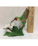 Ruby Throated Hummingbird with Lily Flower Figurine Porcelain Bronson Fi... - $18.80
