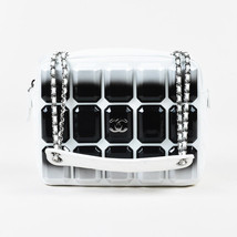 "Chanel White Lambskin Black Ombre Studded 'CC' ""Evening Art Flap"" Bag - $5,430.00"