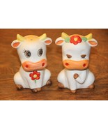 Vintage Hand Painted Bisque Cow Couple Salt & Pepper Shakers - $44.55