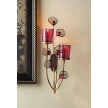 Iron & Glass Pink Peacock Style Wall Sconce for Votive Candles - $24.95