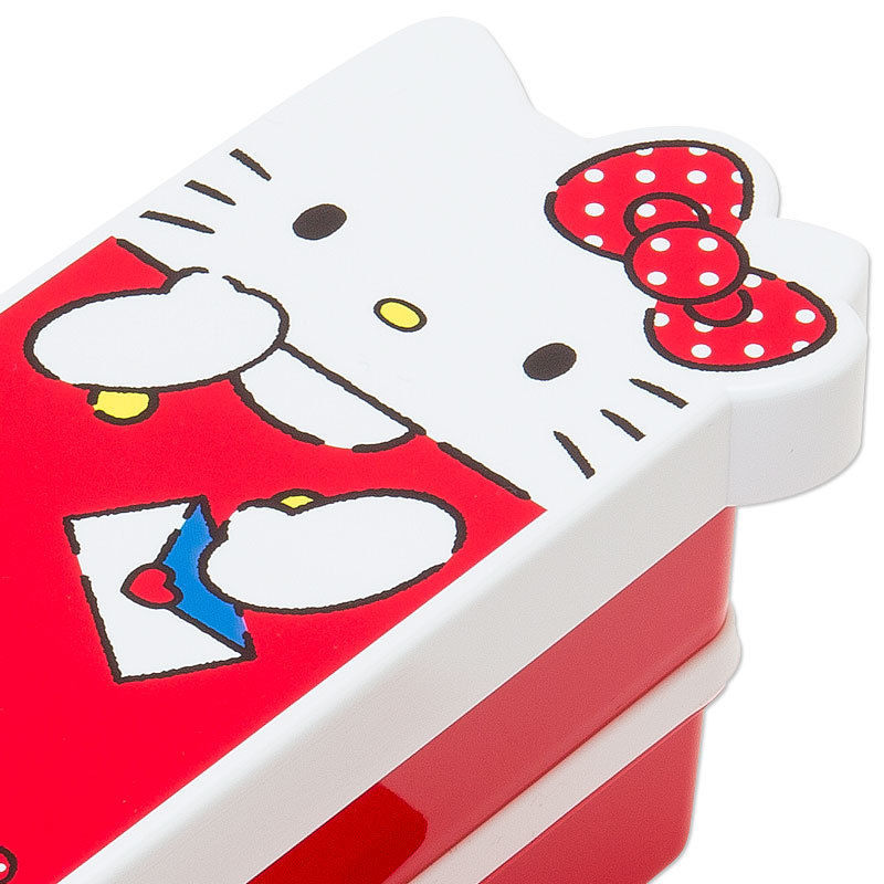 Sanrio Original Japan Hello Kitty Shaped 2-Tier Bento Lunch Box 600ml Chopsticks