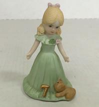 vintage growing up birthday girl figurine age 7 blonde hair green dress ... - $19.75