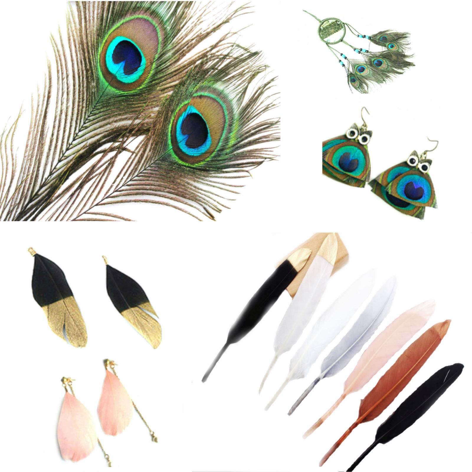 Earring making materials, bronzing feathers DIY Jewelry Peacock feathers 5/10pcs