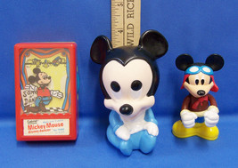 Walt Disney Mickey Mouse 1975 Dancer Game Squeak Toy & Mickey Figure Lot of 3 - $15.04