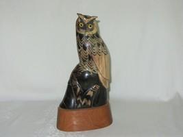 Carved Buffalo Horn Owl Bird Figurine Vintage Art Sculpture Wood Base 8 ... - $98.99