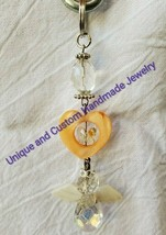 "Angel butterfly heart flower mother of pearl glass 3 1/2"" handmade keyring - $6.00"