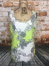 Women's Scumi Jo Tank Top Sleeveless Floral Ruffle Design Green & White - $12.99
