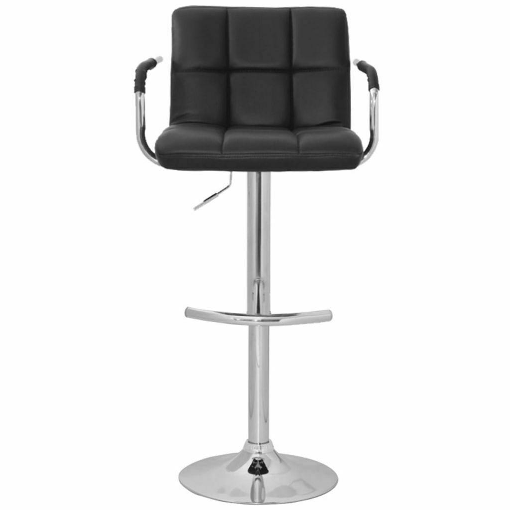 Set of 2 Adjustable Swivel Bar Stool PU Leather Hydraulic w/Armrest White/Black image 6