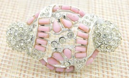 Pink Clear Rhinestone Unique Ornament Shape Openwork Vintage Pin Brooch - $31.18