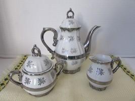 SILVER ANNIVERSARY TEAPOT CREAMER AND SUGAR BOWL WHITE & SILVER TEA FOR ... - $19.95