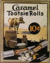 Caramel Tootsie Rolls 10 Cents Candy Metal Sign - $15.95