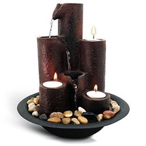 3 Tier Desktop Cascading Waterfall Fountain with 3 Candles and River Rocks - $57.39