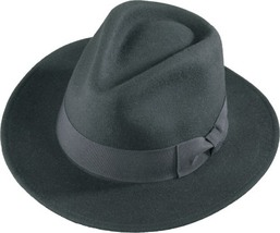 Henschel Soft Wool Felt Big Brim Fedora Wide Grosgrain Ribbon Band Bow  ... - $61.00