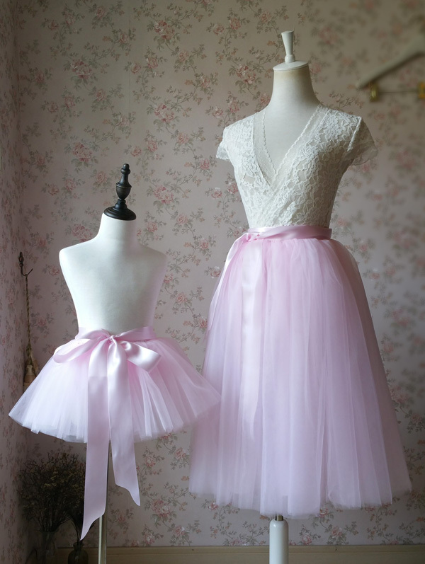 Women's High Waist Pink Tulle Skirt Pink Long Tulle Tutu Skirt Outfit Plus Size
