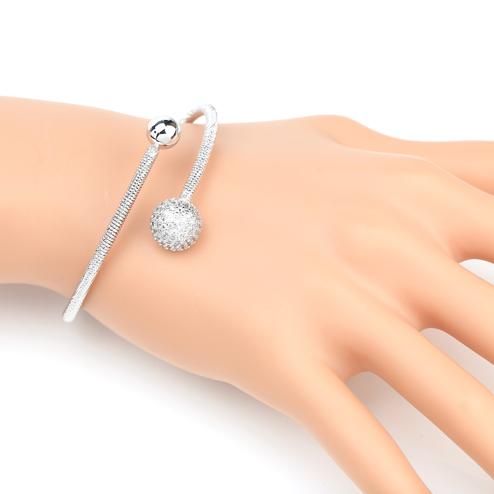 Primary image for UE- Designer Silver Tone Wrap Bangle Bracelet With Swarovski Style Crystals