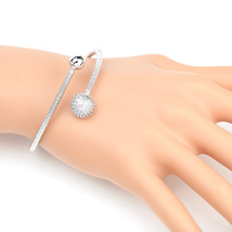 UE- Designer Silver Tone Wrap Bangle Bracelet With Swarovski Style Crystals - $19.99