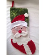 "New Hooked Needlepoint 3D Santa Claus Christmas Stocking 18"" AS IS - $24.95"
