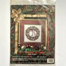 """True Colors HOLLY WREATH Ribbon Embroidery Kit Christmas Floral Holiday 9"""" - $9.90"""