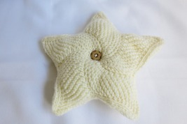Handmade decorative star pillow - knitted  home decor - handcrafted - ru... - $17.00