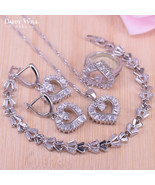 Best Quality Dubai Style heart  silver Color Jewelry Set for women earri... - $30.38