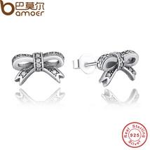 BAMOER Delicate 100% 925 Sterling Silver Sparkling Bow Stud Earrings Wit... - $17.20