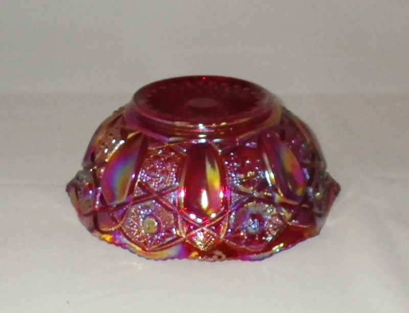 """Smith Red Carnival Glass 8"""" Bowl Vibrant Iridescent Glass"""
