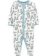 CARTER'S Baby Cotton Pajamas PJs Sleep Play Romper Outfit SAFARI 3M 3 Mo... - $14.50