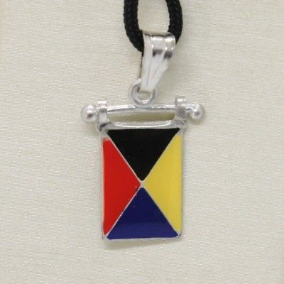 SOLID 925 STERLING SILVER PENDANT WITH NAUTICAL FLAG, LETTER Z, ENAMEL, CHARM