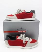 NIB Prada Men's Red Gray Nylon Suede Low-Top Sneakers Shoes 10 43 - $295.68