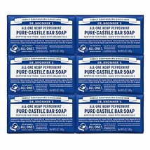 Dr. Bronner's - Pure-Castile Bar Soap Peppermint, 5 ounce, 6-Pack - Made with Or