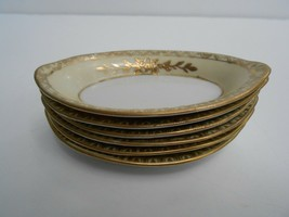 6 Vintage ashtrays bridge candy nut dish individual gold & cream japan h... - $59.39