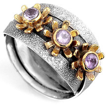 Nature Sterling Silver 925 Amethyst Estate Flowers Ring Vintage Ladies Size 7 - $18.98
