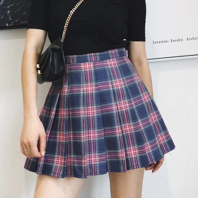 Women Girl PURPLE Pleated Plaid Skirt- School Skirt Pleated Plaid Skirt- US2-US8