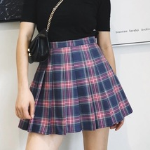 Petite Size PURPLE Pleated Plaid Skirt School Girl Women Plaid Skirt US2... - $28.90