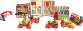 Huge Lot Vintage 9 Fisher Price Toys: Cash Register, Little Snoopy Pull ... - $89.99