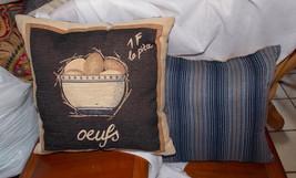 Pair of Brown Beige Blue Stripe Egg Print Throw Pillows  18 x 18 - $59.95