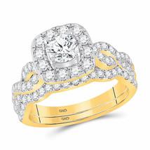 14kt Yellow Gold Round Diamond Bridal Wedding Ring Set 1-1/2 Ctw Certified - £2,524.41 GBP