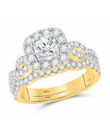 14kt Yellow Gold Round Diamond Bridal Wedding Ring Set 1-1/2 Ctw Certified - £2,669.33 GBP