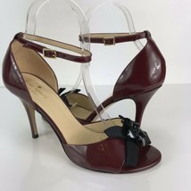 Kate Spade Italy Heels 7.5 Patent Leather Maroon Black Floral Detail Ankle Strap - $39.59