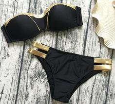 Womens Swimwear, Black & Gold Bikini Set - $19.99
