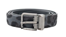 Gray Leopard Pattern Hair Calfskin Belt - ₹10,449.88 INR