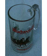 Budweiser Christmas Clydesdale glass mug 1989 - $8.00