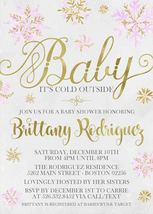 Baby It's Cold Snowflake gold pink blue Baby Shower Invitation Personalized - $0.99