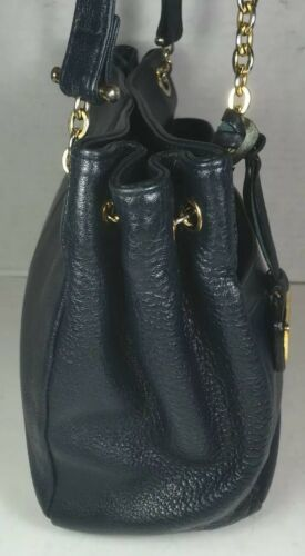 Chaus Accessories Vintage Blue Leather Shoulder Bag- Gold Tone HW