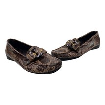 Stuart Weitzman Womens Size 7M Brown Python Snake Skin Loafers Shoes Gold Tone - $44.51
