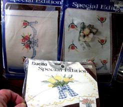 """3 Stamped Xstitch kits Bucilla """"TULIPS & BOWS"""" dresser scarf, pillowcases, table - $17.99"""