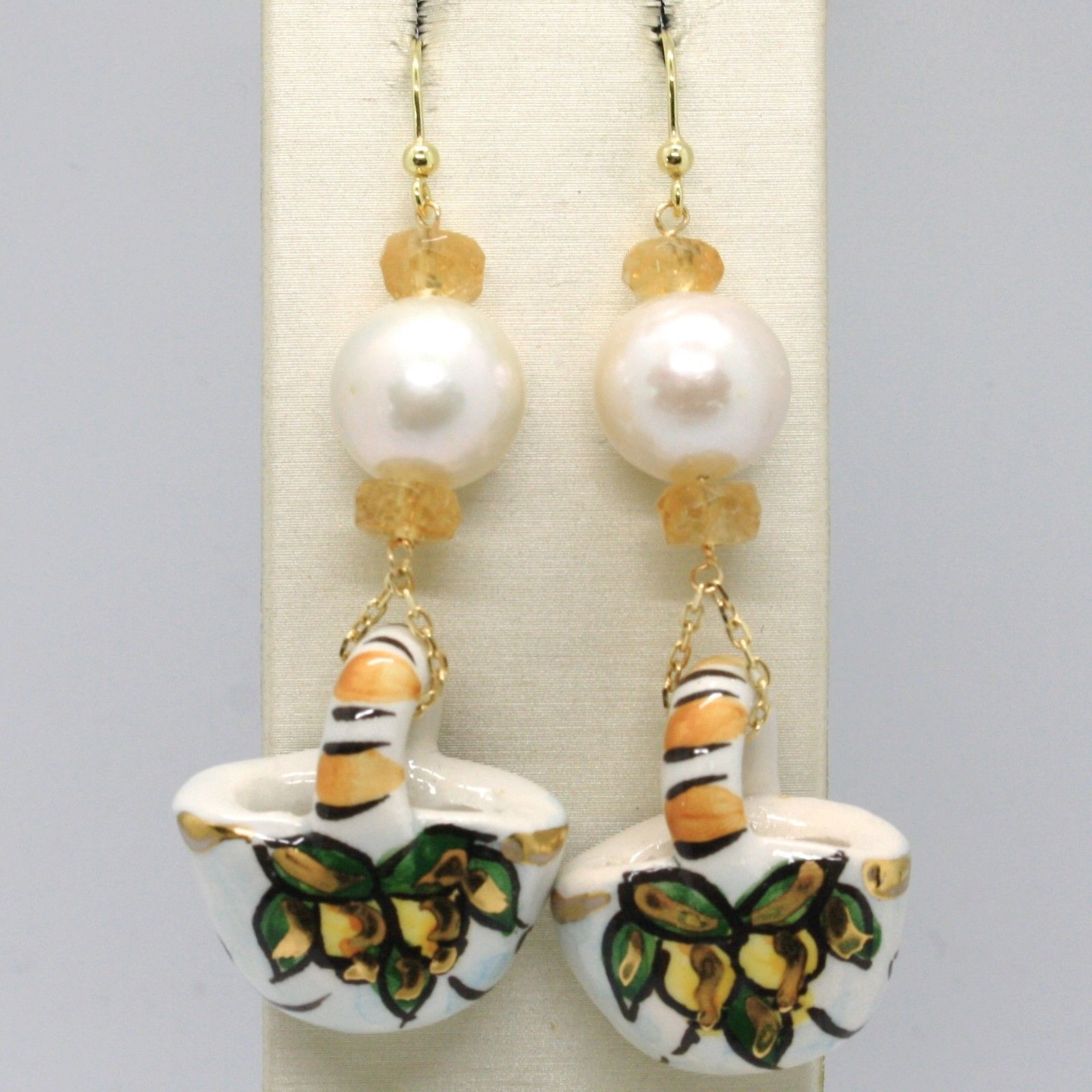18K YELLOW GOLD EARRINGS CITRINE PEARL & CERAMIC LEMON BAG HAND PAINTED IN ITALY