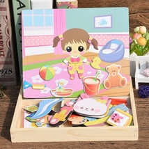 11 Styles Anime Wooden Magnetic change clothes Puzzle+Drawing Board Lear... - $40.85