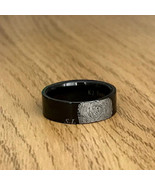 Personalized Unisex Thin Tungsten Fingerprint Ring Initials Engraved 6mm - $87.99