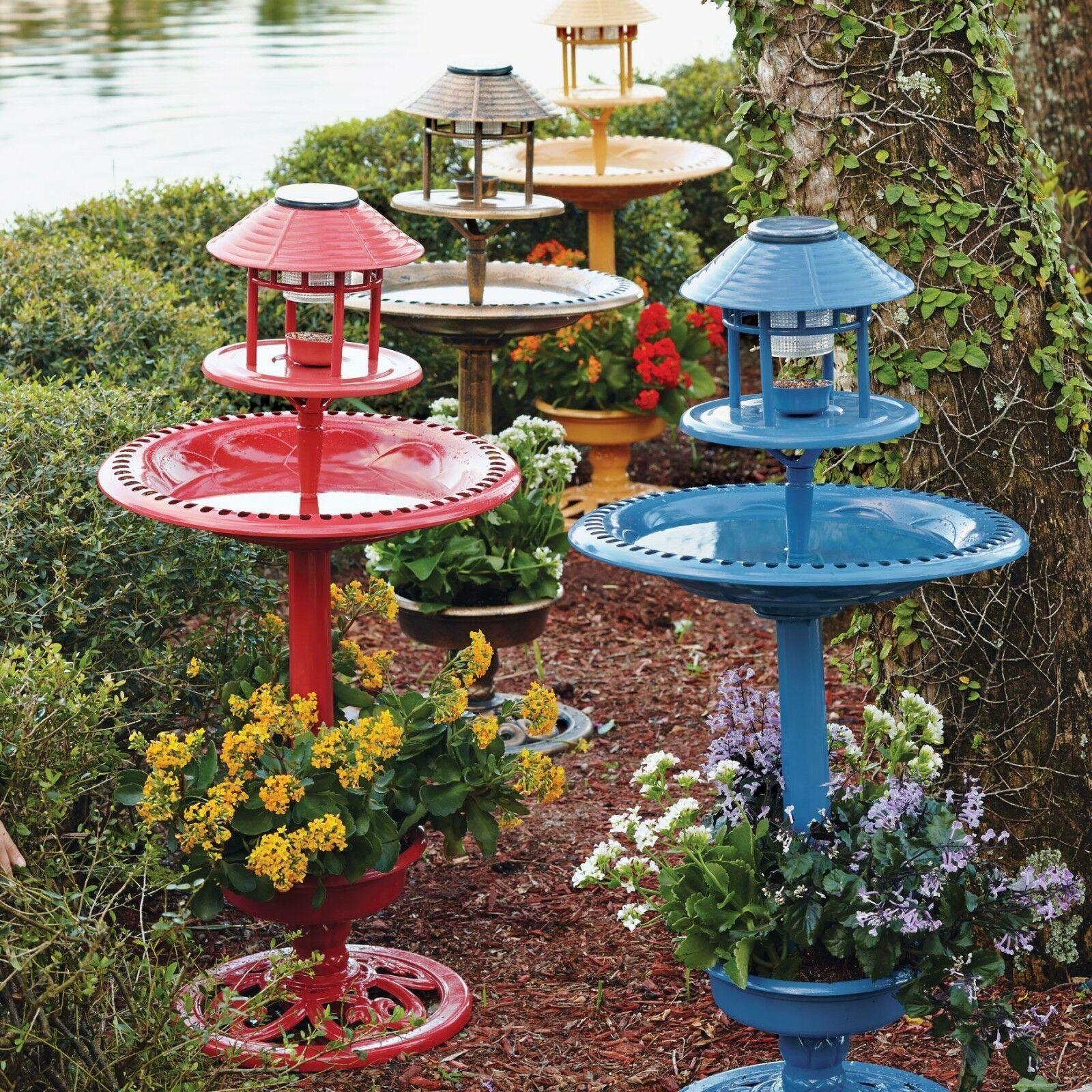 Outdoor Solar Powered Led Water Fountain Yard Decor Blue ...